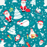 Christmas seamless pattern. Colour flat  design with Santa Claus. Snowman, christmas tree. Vector illustration Stock Photography