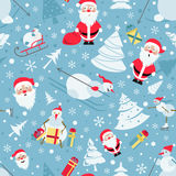 Christmas seamless pattern. Colour flat  design with Santa Claus Stock Photos