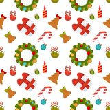 Christmas seamless pattern with gift boxes and decorations. Christmas seamless pattern composed of gift boxes tied with ribbon, decorative toys for festive tree Stock Photography