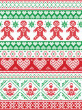 Christmas seamless pattern in cross stitch with Gingerbread man, snowflake, decoration elements, angel, hearts and ornaments. Scandinavian, festive winter stock illustration
