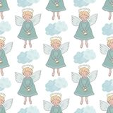 Christmas seamless pattern with cute angels with bell. For new year`s design on a white background with clouds. Lovely xmas hand drawn illustration in cartoon Royalty Free Stock Image