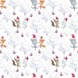 Christmas seamless pattern with cute animals. And fir trees. Childhood vector background in cartoon style vector illustration
