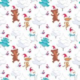 Pattern with snowman and cute animals. Christmas seamless pattern with cute animals and fir trees. Childhood vector background in cartoon style stock illustration
