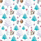 Seamless pattern with cute animals. Christmas seamless pattern with cute animals and fir trees. Childhood vector background in cartoon style stock illustration