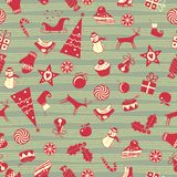 Christmas Seamless Pattern. Cute Christmas seamless pattern with assorted seasonal objects Stock Photo