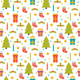 Christmas seamless pattern. Cute background with Christmas tree, Stock Photos