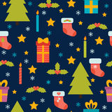 Christmas seamless pattern. Cute background with Christmas tree, Stock Photography