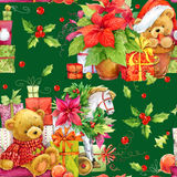 Christmas seamless pattern. Cute bear. Christmas wrapping paper background. New Year pattern. Christmas tree. Watercolor Teddy bear. Christmas Vintage Royalty Free Stock Photography