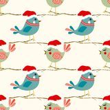 Christmas seamless pattern with  birds Royalty Free Stock Image