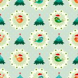 Christmas seamless pattern with cute birds Stock Photography