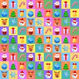 Christmas seamless pattern with cute cartoon characters on colorful background. Flat design without transparency. Christmas seamless pattern with cute cartoon Royalty Free Illustration
