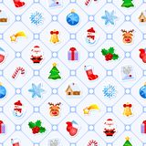 Christmas seamless pattern with cute cartoon characters and holidays elements. Good for wrapping. Christmas seamless pattern with cute cartoon characters and Royalty Free Stock Image