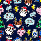 Christmas seamless pattern with cute comic icons. Royalty Free Stock Photography
