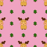 Christmas seamless patterns with cute deers and christmas tree. royalty free illustration