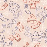 Christmas seamless pattern with cute doodles royalty free illustration