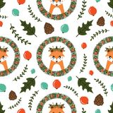 Christmas seamless pattern with cute Fox. Vector illustration Royalty Free Stock Photo