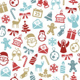 Christmas Seamless Pattern. With cute icons. Can be used as wrapping paper stock illustration