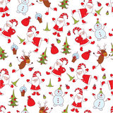 Christmas seamless pattern. Cute Christmas seamless pattern with Santa ,snowman ,deer and christmas tree Stock Photography