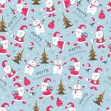 Christmas seamless pattern. Cute Christmas seamless pattern with Santa ,snowman and christmas tree Stock Photo