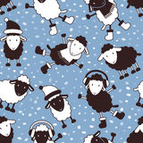 Christmas seamless pattern with cute sheep Stock Images