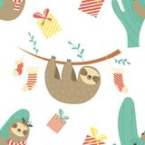 Christmas Seamless pattern with cute sloths Stock Photography