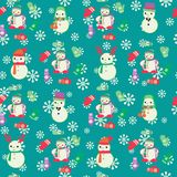 Christmas Seamless Pattern with cute snowmen and mitten. Royalty Free Stock Photography