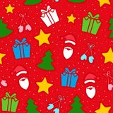 Christmas seamless pattern. Christmas decoration of pattern from traditional festive elements. Seamless texture. Vector illustration Stock Photography