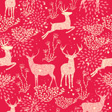 Christmas seamless pattern deer nature elements Royalty Free Stock Photo