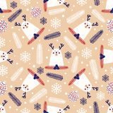 Christmas seamless pattern with deer. In Scandinavian style. Vector illustration Stock Image