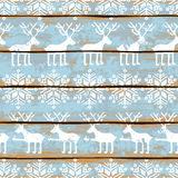 Christmas seamless pattern with deers and snowflakes Stock Photo