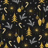 Christmas seamless pattern design. Vector winter holiday symbols wallpaper Stock Images