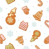 Christmas seamless pattern. Different Gingerbread cookies  on white. Vector Stock Photography