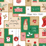 Christmas seamless pattern with different signs on Christmas and New Year. Wreath, cake, gingerbread house, mittens, toys, gifts and socks. Background Stock Images