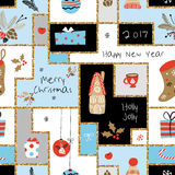 Christmas seamless pattern with different signs on Christmas and New Year. Wreath, cake, gingerbread house, mittens, toys, gifts and socks. Background Royalty Free Stock Photo