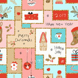 Christmas seamless pattern with different signs on Christmas and New Year. Wreath, cake, gingerbread house, mittens, toys, gifts and socks. Background Stock Image
