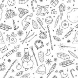 Christmas seamless pattern in doodle style.Hand drawn illustration. Royalty Free Stock Photography