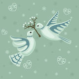 Christmas seamless pattern with doves Stock Photo