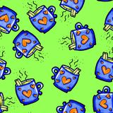 Christmas seamless pattern drawn by hand. Blue cup with hearts on a green background. Coffee, cocoa, cinnamon. New year royalty free illustration