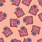 Christmas seamless pattern drawn by hand. Red gift with purple ribbon on a pink background. Happy New Year royalty free illustration