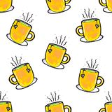 Christmas seamless pattern drawn by hand. Yellow cup on a white background. Coffee, cocoa, cinnamon. New year vector illustration