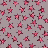 Christmas seamless pattern drawn by hand. Red Christmas star on a grey background. New Year vector illustration
