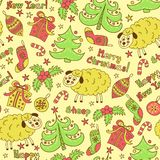 Christmas seamless pattern elements with sheep Royalty Free Stock Photography
