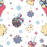 Christmas seamless pattern with elements of traditional decor: sweets and toys, cookie, bell and bows on white stock illustration