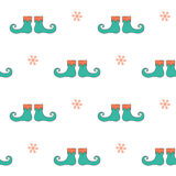 Christmas seamless pattern with elf boots Stock Photography