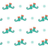 Christmas seamless pattern with elf boots Stock Photos