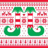 Christmas seamless pattern with elf and reindeer, red and green repetitive design Stock Photo