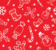 Christmas Seamless Pattern. Festive Christmas Seamless Pattern with Angels, Santas, Bells and Candles Royalty Free Stock Image
