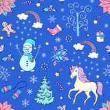 Christmas seamless pattern. With festive elements on blue background.Vector illustration Stock Image