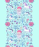 Christmas seamless pattern. With festive elements on blue background.Vector illustration Stock Images