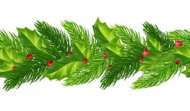 Christmas seamless pattern of fir branches, holly and red berries. Isolated on white background without shadow. Festive garland. stock illustration